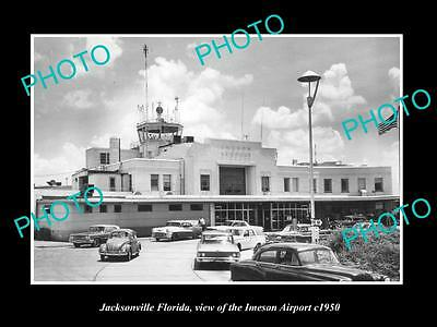 OLD LARGE HISTORIC PHOTO OF JACKSONVILLE FLORIDA, VIEW OF IMERSON AIRPORT c1950