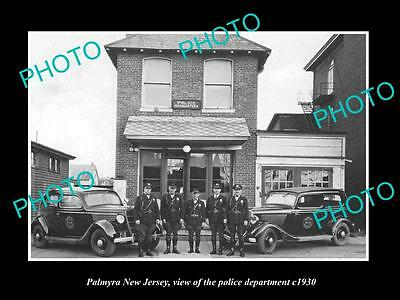 OLD LARGE HISTORIC PHOTO OF PALMYRA NEW JERSEY, THE POLICE DEPARTMENT CREW c1930