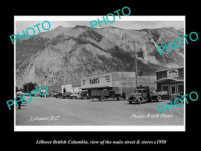 OLD LARGE HISTORIC PHOTO OF LILLOOET BRITISH COLUMBIA, THE MAIN St & STORES 1950