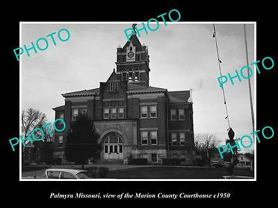 Old Large Historic Photo Of Palmyra Missouri, The Marion County Court House 1950