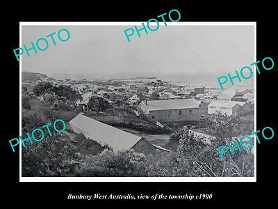 OLD LARGE HISTORIC PHOTO OF BUNBURY WEST AUSTRALIA, VIEW OF THE TOWNSHIP c1900