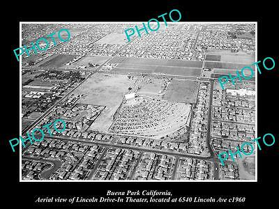 OLD LARGE HISTORIC PHOTO OF BUENA PARK CALIFORNIA, THE LINCOLN DRIVE IN c1960
