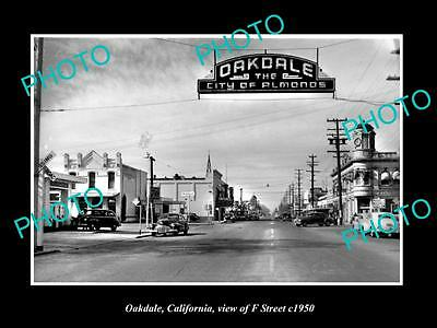 OLD LARGE HISTORIC PHOTO OF OAKDALE CALIFORNIA, VIEW OF F STREET c1950