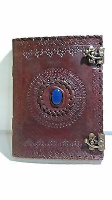 "Handmade Large 8"" Embossed Leather Journal Celtic Two Latches Blue Stone Blank"