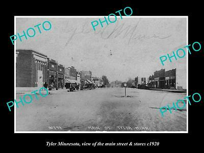 OLD LARGE HISTORIC PHOTO OF TYLER MINNESOTA, THE MAIN STREET & STORES c1920