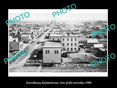 OLD LARGE HISTORIC PHOTO OF GRAVELBOURG SASKATCHEWAN, VIEW OF THE TOWNSHIP c1900