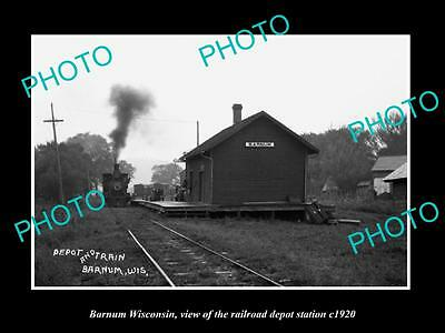 OLD LARGE HISTORIC PHOTO OF BARNUM WISCONSIN, THE RAILROAD DEPOT STATION c1920