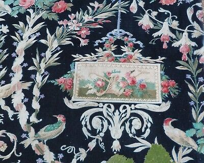 Antique French Victorian 1890s faded printed cotton fabric Floral Cartouche