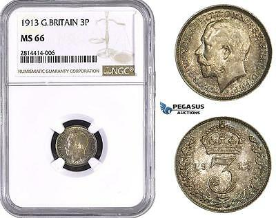 AA541, Great Britain, George V, Threepence (3P) 1913, Silver, NGC MS66, Pop 5/0,