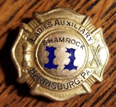 Harrisburg PA Obsolete Ladies Auxiliary Fire Badge Shamrock Station 11 Gold