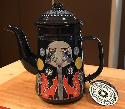 New Folklore Navy Blue Enamel Teapot Day & Night Boho Owls Foxes Bright  950ml