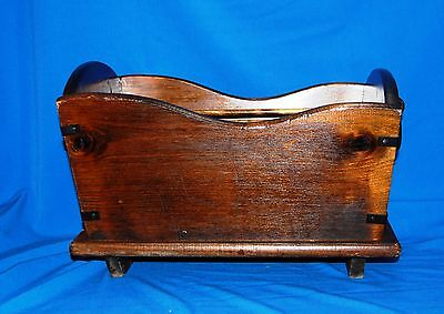 Vintage Wood Cradle Magazine Rack Holder with Cast Iron Handles