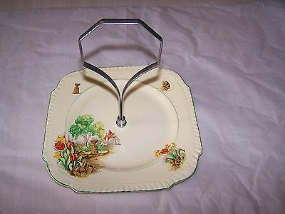 Cake Plate, Burgess, Cottage, Tulips, Handle, Drilled, Replacement, Vintage