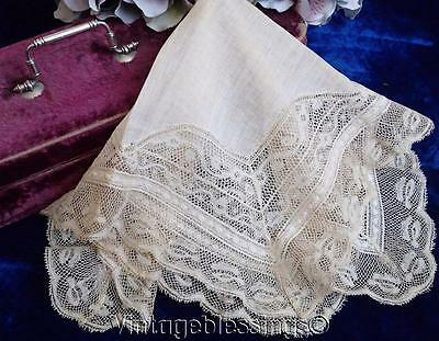 "Beautiful HEIRLOOM Antique Lace Bridal Handkerchief 13"" x 13"""