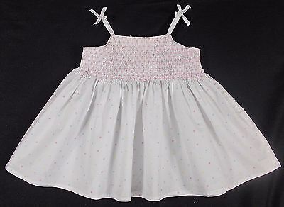 Marks and Spencer baby dress summer sun smocked M&S WHITE 0-3 months