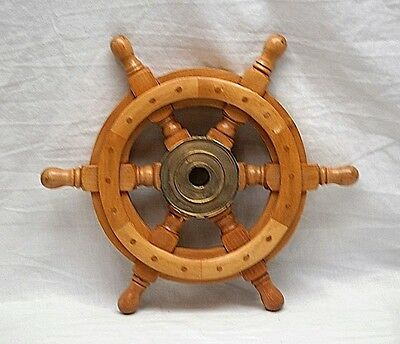 Old Vintage Wooden Ship's Wheel w Brass Center Nautical Maritime Boat Decor
