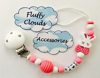 Cute baby wooden bead Pacifier Soother Dummy Clip Holder 1pc ~ Girls