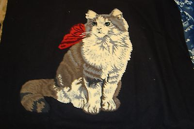"""Vintage Hooked Cat Pillow Top On Black Wool Reversible 14"""" Square Top 24"""" x 19"""""""