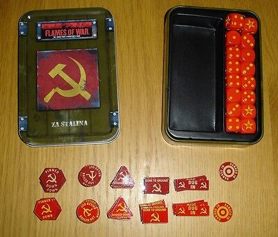 Rare OOP Flames of War Za Stalina Dice Tin and Counters WWII 15mm