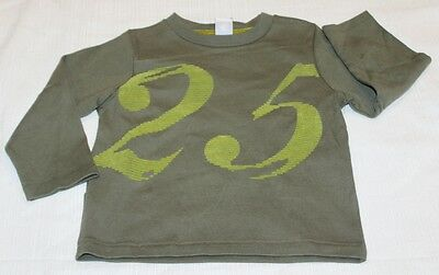 "PETIT BATEAU Boys Olive Green Long Sleeve ""25"" Top 72287 Sz 3 (94cm) NWT $37"