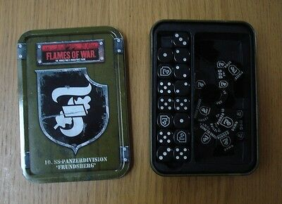 Rare OOP German Flames of War Dice Tin and Counters  WWII 15mm