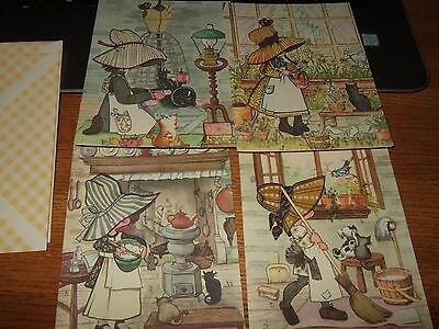 lot 4 vintage quality quest get well greeting cards sunbonnet girls hats gingham