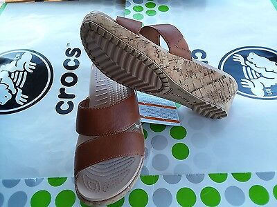 "CROCS A LEIGH LEATHER MINI 2"" WEDGE~PATRICIA CYPRUS~SANDAL~Brown~W 8~NWT"