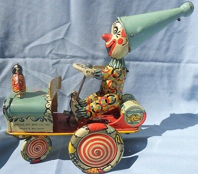 Unique Art Artie The Clown In His Crazy Car 1930's Tin Wind Up WORKING