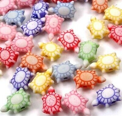 100 Mixed Color Lovely little Turtle Tortoise Acrylic Beads spacer charms 12mm