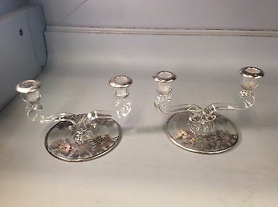 Pair Vintage Elegant Clear Glass Silver Overlay Double Sided Candle Holders Nice