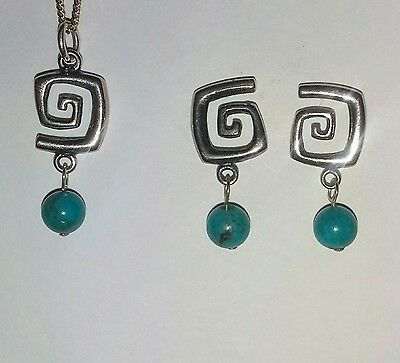 Carolyn Pollack South Western Silver 925 Turquoise Earring & Pendant Set