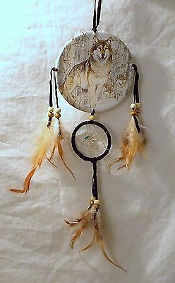 New Grey Wolves In Snow Dream Catcher Mandella Turquoise Stone Beads & Feathers