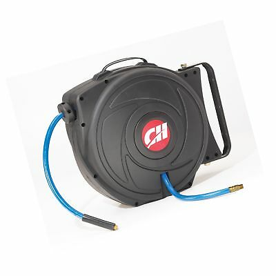 Air Hose Reel with Retractable 50 Foot Hose 3/8 Inch ID Mountable Swivel Brac...