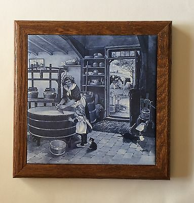 Royal Mosa Holland Delft Blue & White Ceramic Tile Dairy Scene Kitchen 511