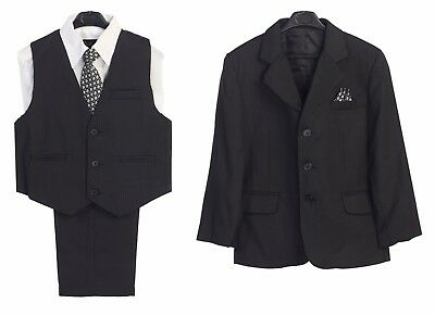 Boys Kid Formal Dress Suit Black Striped 5 pcs Jacket Vest Shirt Tie Pants 4 -7