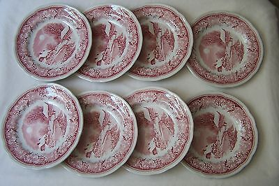 "Qty of 8 Spode Winter's Eve Red Small 6.25"" Plates - made in England"