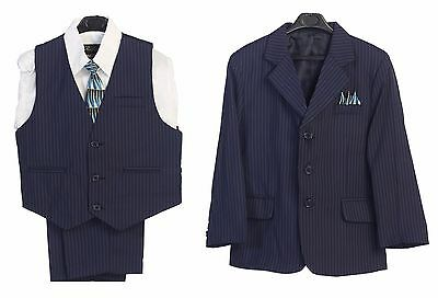 Boys Suit Kid Formal Dress Navy Striped 5 pcs Jacket Vest Shirt Tie Pants 4 -7