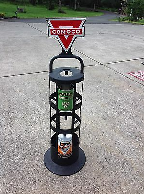 Conoco Quart Oil Can Rack, With Original Porcelain Signs