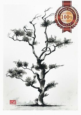 New Japanese Tree Artwork Original Home Decor Painting Art Print Premium Poster