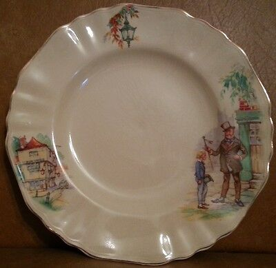 """J & G Meakin Round Fluted Lunch Plate """"Sunshine"""" Charles Dickens"""