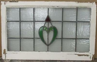"""OLD ENGLISH LEADED STAINED GLASS WINDOW TRANSOM Pretty Floral 31.75"""" x 19.75"""""""