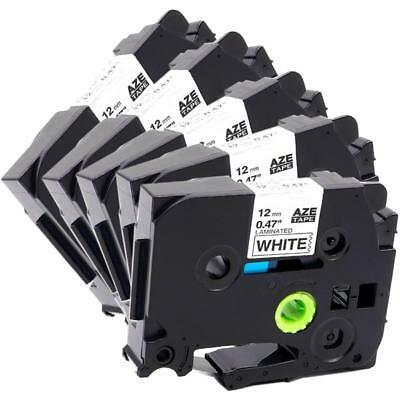 Black on White P-Touch Label Tape Compatible for Brother TZe 231 12mm 5PK