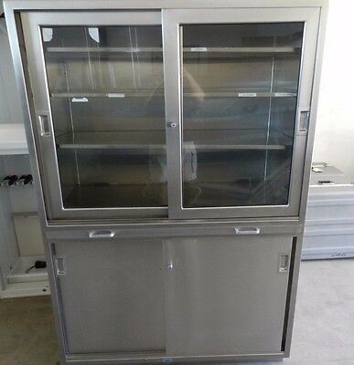 Stainless Steel/Glass Medical Cabinet w/ Pull out Shelf