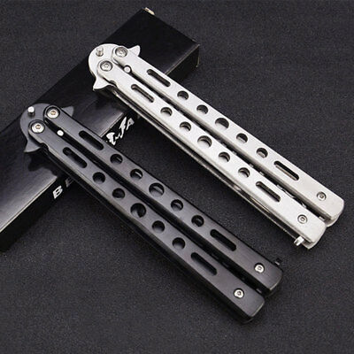 HOT Useful Metal Practice Butterfly Balisong Trainer Training Dull Tool