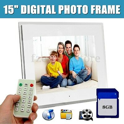 """15"""" LED Full HD Digital Photo Frame Picture Movie Player+Remote+Free 8G SD Card"""