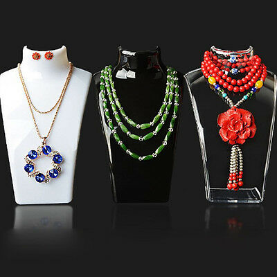 Acrylic Mannequin Necklace Jewelry Pendant Display Bust Holder Stand Show Rack