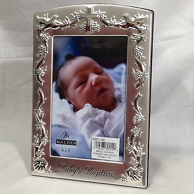 Malden Baby Baptism Silver Cross Doves 4x6 Picture Photo Frame New