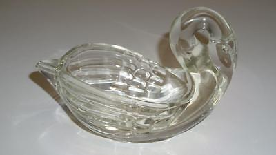Genuine Vintage SWAN Dish Hand Made HAND BLOWN Clear Glass 17cm Excelnt