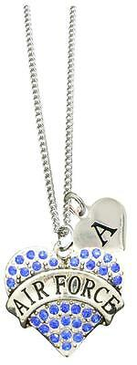 Custom Blue Air Force Silver Necklace Jewelry Choose Initial or Family Charms