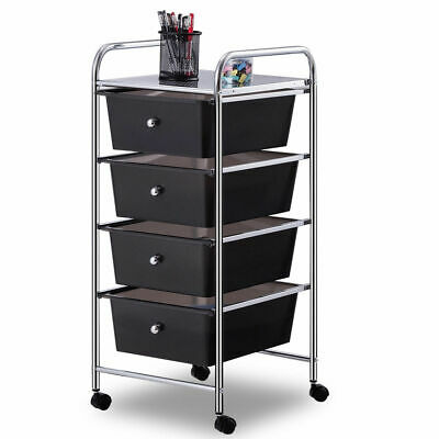 4 Drawers Chrome Studio Organizer Rolling Cart Scrapbook Supply & Paper Office